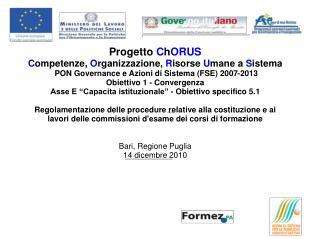 Progetto C h ORUS C ompetenze, O rganizzazione, R isorse U mane a S istema