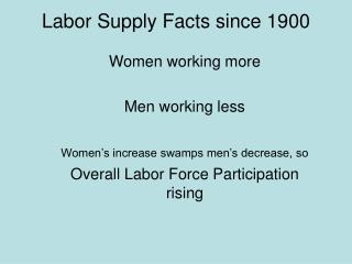 Labor Supply Facts since 1900