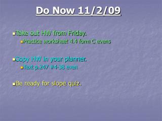 Do Now 11/2/09