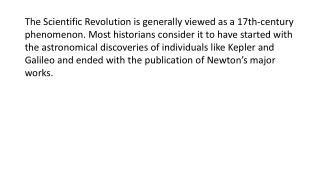 Factors Leading to the Scientific Revolution