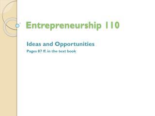 Entrepreneurship 110