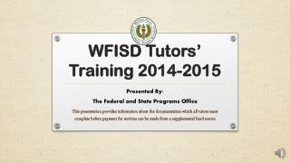 WFISD Tutors' Training 2014-2015