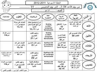 الخطة الاسبوعية 201 1 -201 2