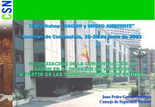 """II Workshop """"RADON y MEDIO AMBIENTE"""" Santiago de Compostela, 26-28 de junio de 2003"""