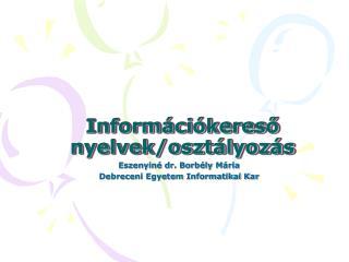 Információkereső nyelvek/osztályozás