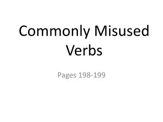 Commonly Misused Verbs