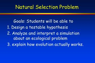 Natural Selection Problem