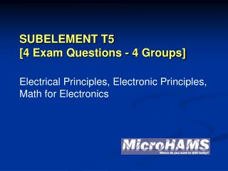 SUBELEMENT T5 [4 Exam Questions - 4 Groups]