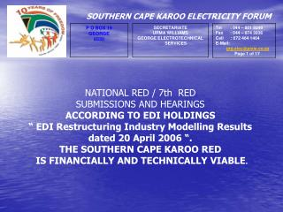 NATIONAL RED / 7th  RED SUBMISSIONS AND HEARINGS ACCORDING TO EDI HOLDINGS