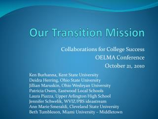 Our Transition Mission