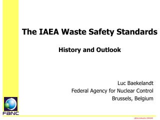 The IAEA Waste Safety Standards History and Outlook