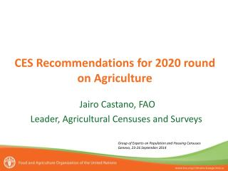 CES Recommendations for 2020 round on Agriculture