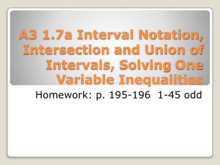 Homework: p. 195-196 1-45 odd