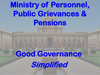 Ministry of Personnel, Public Grievances & Pensions