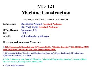 MD 121  Machine Construction