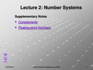 Lecture 2: Number Systems