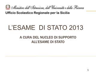 L'ESAME DI STATO 2013