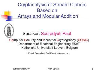 Speaker: Souradyuti Paul