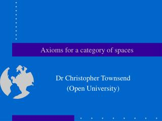 Axioms for a category of spaces