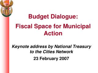 Keynote address by National Treasury to the Cities Network 23 February 2007