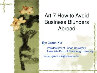 Art 7 How to Avoid Business Blunders Abroad