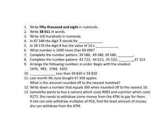 Write fifty thousand and eight in numerals. Write 38 011 in words.