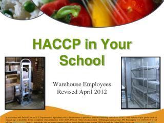 HACCP in Your School