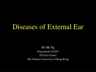 Diseases of External Ear