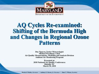 AQ Cycles Re-examined: Shifting of the Bermuda High and Changes in Regional Ozone Patterns
