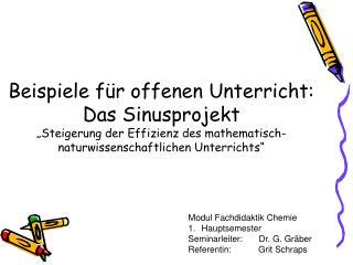 Modul Fachdidaktik Chemie Hauptsemester Seminarleiter:Dr. G. Gräber