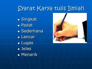 Syarat Karya tulis Ilmiah