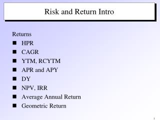 Risk and Return Intro