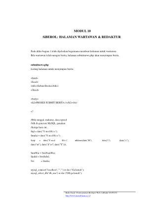 MODUL 10 SiBEROL: HALAMAN WARTAWAN & REDAKTUR