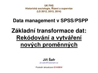 Data management v SPSS/PSPP