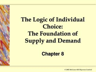 The Logic of Individual Choice: The Foundation of Supply and Demand