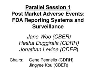 Parallel Session 1 Post Market Adverse Events: FDA Reporting Systems and Surveillance