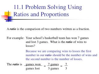 11.1 Problem Solving Using Ratios and Proportions