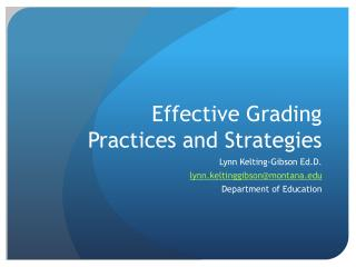 Effective Grading Practices and Strategies