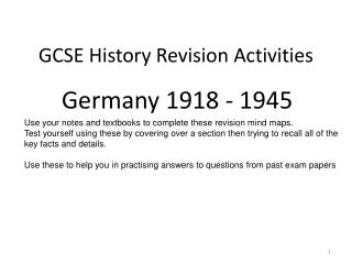 GCSE History Revision Activities