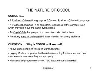 THE NATURE OF COBOL