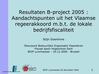 Stijn Goeminne Steunpunt Bestuurlijke Organisatie Vlaanderen Fiscaal spoor Hogeschool Gent