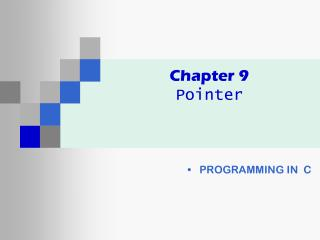 Chapter 9 Pointer