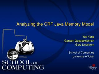 Analyzing the CRF Java Memory Model