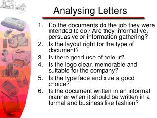 Analysing Letters