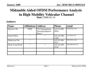Midamble Aided OFDM Performance Analysis  in High Mobility Vehicular Channel