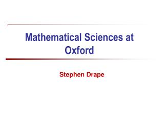 Mathematical Sciences at Oxford