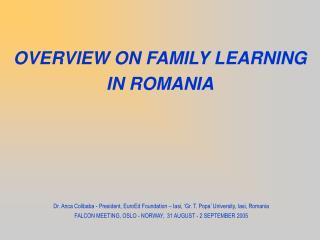OVERVIEW ON FAMILY LEARNING IN ROMANIA