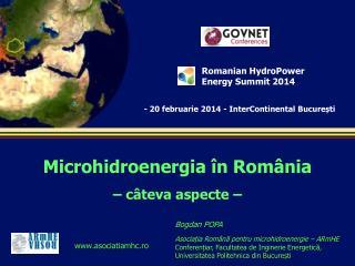 Microhidroenergia în România – c â teva aspecte –