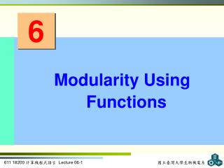 Modularity Using Functions
