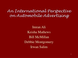An International Perspective on Automobile Advertising